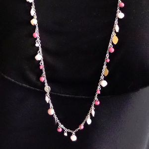 """SILVER-TONE CHAIN PINK & BEIGE BEADED 35"""" NECKLACE"""